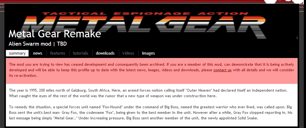 Metal Gear Remake Development Ceased Notice