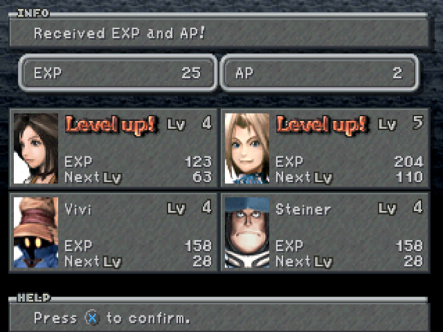 Experience Points Final Fantasy IX